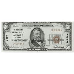 1929 $50 National Currency Note - The Merchants National Bank of Aurora, Illinois. CH# 3854 FR# 180