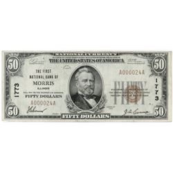 1929 $50 National Currency Note - The First National Bank of Morris, Illinois. Low Serial # A000024A