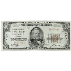 1929 $50 National Currency Note - Palmer-American National Bank of Danville, Illinois. CH# 4731