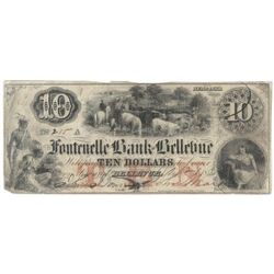 Obsolete Note: 1856 $10 Fontenelle Bank - Bellevue, Nebraska.