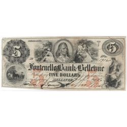 Obsolete Note: 1856 $5 Fontenelle Bank - Bellevue, Nebraska.