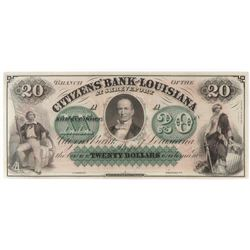 Obsolete Note: $20 Citizens Bank of Louisiana at Shreveport.