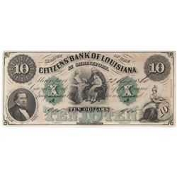 Obsolete Note: $10 Citizens Bank of Louisiana at Shreveport.
