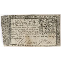 Colonial Currency: Maryland $4 Four Dollars Note April 10, 1774.