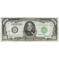 1934 $1000 Federal Reserve Note - FR# 2211-G.