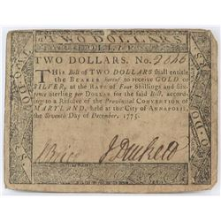Colonial Currency: Maryland $2 Two Dollars Note December, 1775.