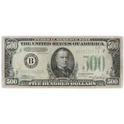 1934 $500 Federal Reserve Note. FR# 2201-B.