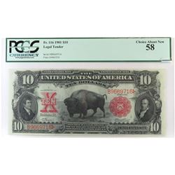 1901 $10 Legal Tender (Bison) Note. FR# 116. PCGS Certified Choice About New 58.