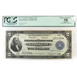 1918 $2 Federal Reserve Note - Kansas City. PCGS Certified Choice About New 58 - apparent stains on