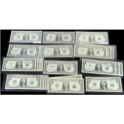 Lot of (30) $1 Silver Certificates, FRN's, Radar Notes, Certified, Consecutives, Star Notes  more.