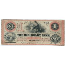 Rare Local Obsolete Note: 1860 $1 The Humboldt Bank Naperville, Illinois - IL 560.