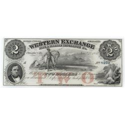 Obsolete Note: 1857 $2 Nebraska Territory - Western Exchange Fire and Marine Insurance Co - NE80.