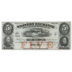 Obsolete Note: 1857 $5 Nebraska Territory - Western Exchange Fire and Marine Insurance Co - NE80.