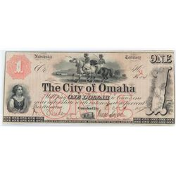 Obsolete Note: 1857 $1 Nebraska Territory - The City of Omaha.