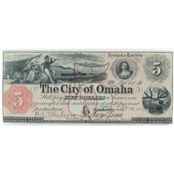 Obsolete Note: 1857 $5 Nebraska Territory - The City of Omaha.