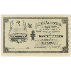Indian Territory Note: #2 James Jackson McAlister. Trade Note.