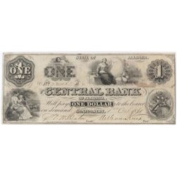 Obsolete Note: 1861 $1 Central Bank of Alabama - AL65.
