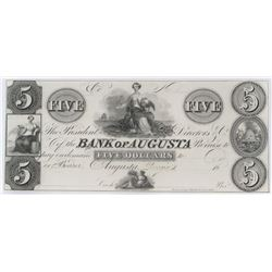 Obsolete Note: 1800's $5 Bank of Augusta, Georgia - GA30 G66.