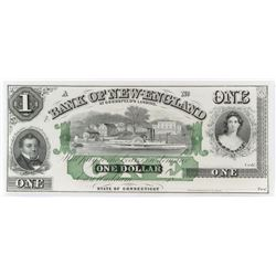 Obsolete Note: 1800's $1 Bank of New England - State of Connecticut.