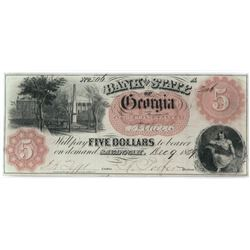 Obsolete Note: 1859 $5 Bank of the State of Georgia - GA330.
