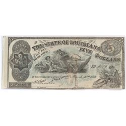 Obsolete Note: 1863 $5 State of Louisiana Shreveport - CR10.