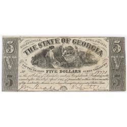 Obsolete Note: 1864 $5 State of Georgia, Milledgeville - CR26.