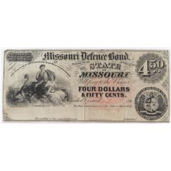 Obsolete Note: 1860's $4.50 State of Missouri - Confederate Defense Bond - CR15.