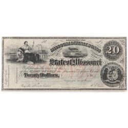 Obsolete Note: 1860's $20 State of Missouri - Confederate Defense Bond - CR21.