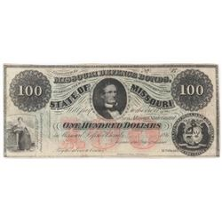 Obsolete Note: 1860's $100 State of Missouri - Confederate Defense Bond - CR19.