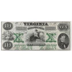 Obsolete Note: 1862 $10 State of Virginia - Treasury Note - CR8.