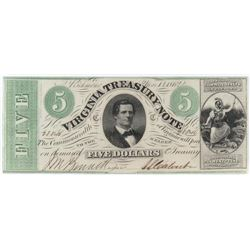 Obsolete Note: 1862 $5 State of Virginia - Treasury Note - CR13.