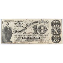 Obsolete Note: 1861 $10 State of Virginia - Treasury Note - CR4.