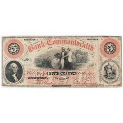 Obsolete Note: 1861 $5 Bank of the Commonwealth of Virginia, Richmond.