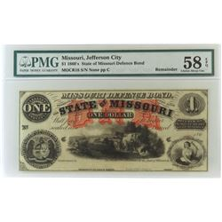 Obsolete Note: 1860's $1 State of Missouri, Jefferson City - Defence Bond - CR18. PMG Certified CA