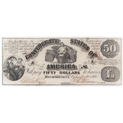 Contemporary Counterfeit Confederate: 1861 $50 Confederate States of America - CT-14.