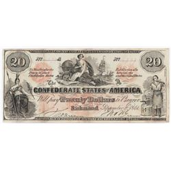 Contemporary Counterfeit Confederate: 1861 $20 Confederate States of America - CT-19.