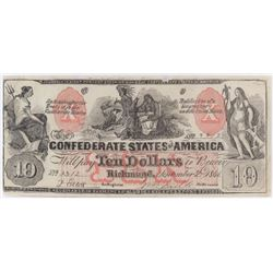 Contemporary Counterfeit Confederate: 1861 $10 Confederate States of America - CT-22.