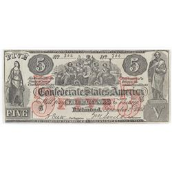 Contemporary Counterfeit Confederate: 1861 $5 Confederate States of America - CT-31.