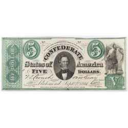 Contemporary Counterfeit Confederate: 1861 $5 Confederate States of America - Mismatched Serial #'s