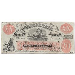 Contemporary Counterfeit Confederate: 1861 $20 Confederate States of America - Upman Note Rarity 8