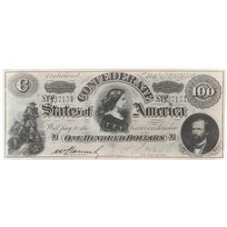 Contemporary Counterfeit Confederate: 1864 $100 Havana Confederate States of America - CT-65/491.