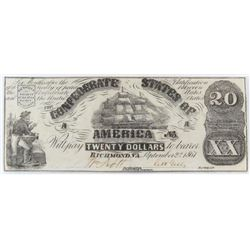 Contemporary Counterfeit Confederate: 1861 $20 Confederate States of America - CT18/132B-1.