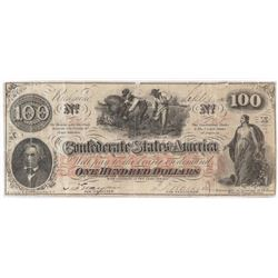Contemporary Counterfeit Confederate: 1862 $100 Confederate States of America - CT41/136.