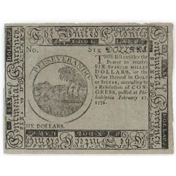 Contemporary Counterfeit Colonial: 1776 $6 Six Dollars Continental Currency Philadelphia.