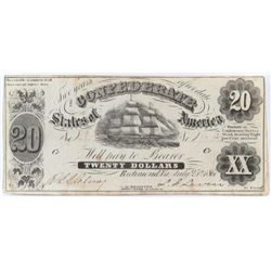 Confederate Currency: July 25, 1861 $20 Confederate States of America - T-9 53.