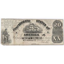 Confederate Currency: September 2, 1861 $20 Confederate States of America - T-18.