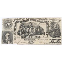 Confederate Currency: September 2, 1861 $20 Confederate States of America - T-20.