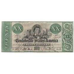 Confederate Currency: September 2, 1861 $20 Confederate States of America - T-21.