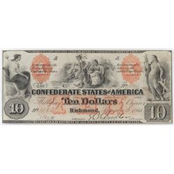 Confederate Currency: September 2, 1861 $10 Confederate States of America - T-22.