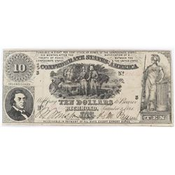Confederate Currency: September 2, 1861 $10 Confederate States of America - T-26.